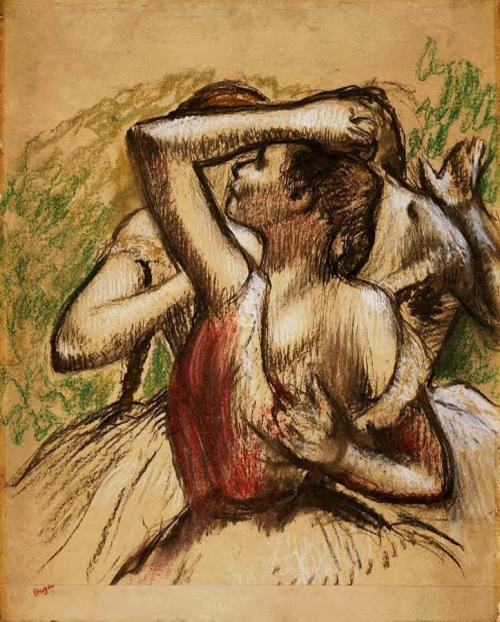 Three Ballet Dancers, One with Dark Crimson Waist, Edgar Degas