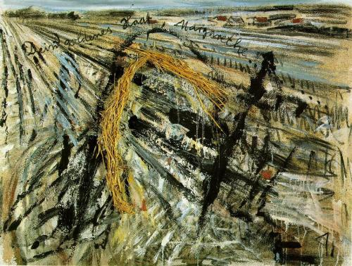 "16thstreet:  Your Golden Hair, Margarete, 1980Anselm Kiefer (German, born 1945)Watercolor, gouache, and acrylic on paper The artist Anselm Kiefer (who was recently awarded the Leo Baeck Medal) was inspired by Paul Celan's poem ""Death Fugue"" (""Todesfuge"") to create more than 30 paintings, painted photographs and watercolors, each of which somehow refers to the poem. You can see that the above painting — which is one of this series — contains a line from the poem, translated as: ""Your golden hair, Margarete."" (Click on the painting for an enlarged view.)  The Metropolitan Museum of Art website explains the connection between the above work and the poem that inspired it:  Celan's ""Death Fugue,"" widely read and anthologized in postwar Germany, is set in an extermination camp. Its narrative voice, in the first person plural, is that of the camp's Jewish inmates who suffer under the strict watch of the camp's blue-eyed commandant. Singing ""your golden hair, Margarete / your ashen hair, Shulamith,"" the narrators contrast German womanhood, as personified by Margarete, to whom the commandant addresses letters at night (she is named after Goethe's heroine, Gretchen, in Faust), and Jewish womanhood (Shulamith was King Solomon's dark-haired beloved in the Song of Songs). Here, as in most of Kiefer's Margarete works, the German heroine is depicted only by the synecdoche of her ""golden hair,"" in the form of sheaves of wheat in the countryside.  Note: The Google Art Project offers high resolution views of three additional artworks by Anselm Kiefer. You can access them by clicking here. (Be sure to try out Google's zoom function so that you can examine the artworks' astonishing details!) Two of these paintings are held by the Art Gallery of New South Wales, and the other can be found in The Toledo Museum of Art. In honor of Yom HaShoah (Holocaust Remembrance Day) and as part of our ongoing National Poetry Month series, we now turn to the chilling poem that inspired the above work of art. Paul Celan (born Paul Antschel) was a Holocaust survivor who wrote in German and whose work has had a strong influence on both poetry and the visual arts in postwar Europe. The poem ""Death Fugue"" is sometimes cited in the ongoing debates around Theodor Adorno's famously quoted (and often misquoted) comment that it is ""barbaric"" to write poetry after Auschwitz. Death Fugueby Paul Celan translated by Jerome Rothenberg  Black milk of morning we drink you at duskwe drink you at noontime and dawn we drink you at nightwe drink and drinkwe scoop out a grave in the sky where it's roomy to lieThere's a man in this house who cultivates snakes and who writeswho writes when it's nightfall nach Deutschland your golden hair Margareta he writes it and walks from the house and the stars all start flashing he whistles his dogs to draw nearwhistles his Jews to appear starts us scooping a grave out of sandhe commands us to play for the dance  Black milk of morning we drink you at nightwe drink you at dawn and noontime we drink you at duskwe drink and drinkThere's a man in this house who cultivates snakes and who writeswho writes when it's nightfall nach Deutschland your golden hair Margaretayour ashen hair Shulamite we scoop out a grave in the sky where it's roomy to lieHe calls jab it deep in the soil you lot there you other men sing and playhe tugs at the sword in his belt he swings it his eyes are bluejab your spades deeper you men you other men you others play up again for the dance Black milk of morning we drink you at nightwe drink you at noontime and dawntime we drink you at dusktimewe drink and drinkthere's a man in this house your golden hair Margaretayour ashen hair Shulamite he cultivates snakes  He calls play that death thing more sweetly Death is a gang-boss aus Deutschlandhe calls scrape that fiddle more darkly then hover like smoke in the airthen scoop out a grave in the clouds where it's roomy to lie  Black milk of morning we drink you at nightwe drink you at noontime Death is a gang-boss aus Deutschlandwe drink you at dusktime and dawntime we drink and drinkDeath is a gang-boss aus Deutschland his eye is bluehe shoots you with leaden bullets his aim is truethere's a man in this house your golden hair Margaretahe sets his dogs on our trail he gives us a grave in the skyhe cultivates snakes and he dreams Death is a gang-boss aus Deutschland  your golden hair Margaretayour ashen hair Shulamite - You can read more about Paul Celan's life and work by clicking here. Submitted by Renate Evers, David Brown and Michael Simonson, Leo Baeck Institute."