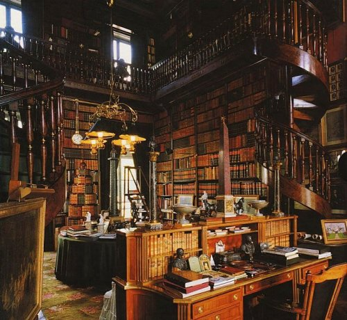 The private bibliothéque of the Château de Groussay, Montfort-l'Amaury, France. The Château was built in 1815 by the duchesse de Charest, a daughter of Louise Elisabeth de Croÿ-Havré, marquise de Tourzel, the governess of the royal enfants de France of Louis XVI and Marie Antoinette.