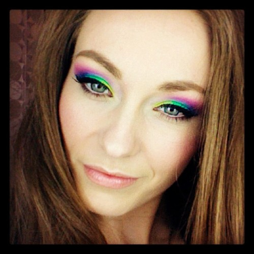 Birthday Face!!!!! :) #rainbow #makeup #beauty #brightcolors #color #spring #me (Taken with instagram)