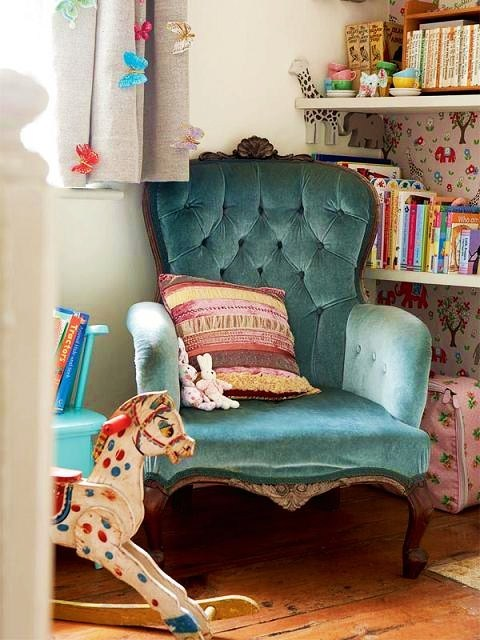 pastels reading nook