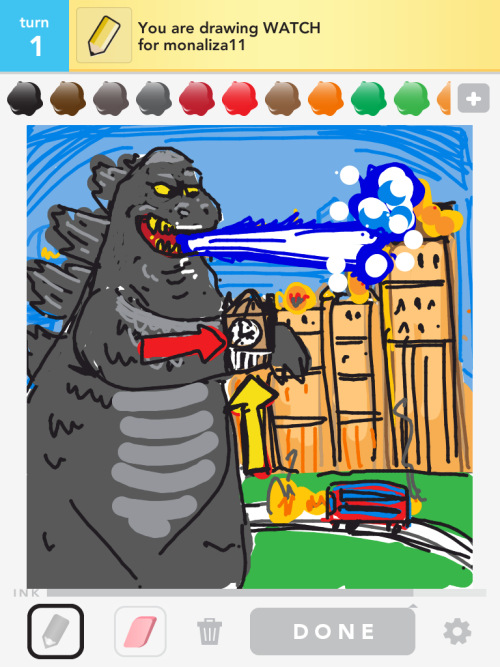 Godzilla looks much more distinguished with a watch.