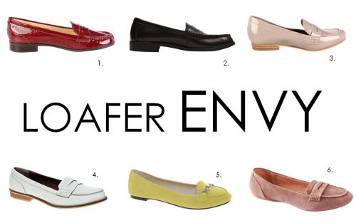 Loafer Envy. It happens. Commuting to the work or school in flip flops or sneakers? A City Girl no-no (Converse are the rare exception to the rule). Get yourself some loafers! They add unexpected gamine flair to dresses, shorts, jeans, cigarette chinos, skirts, the list goes on… We all want comfort & style, and the loafer is a timeless AND comfortable addition to any closet. How can you beat these super chic styles that are all $75 or under? Can't. Find them here: 1. Lauren Ralph Lauren Glenda Slip On in Spice Patent //  2. Bass Cassell Loafer in Black // 3. Sam Edelman Etiene Loafer in Truffle // 4. ASOS Macabee Loafer in White Leather // 5. ASOS Latin Suede Loafer in Lime // 6. Target Merona Suede Loafer in Blush