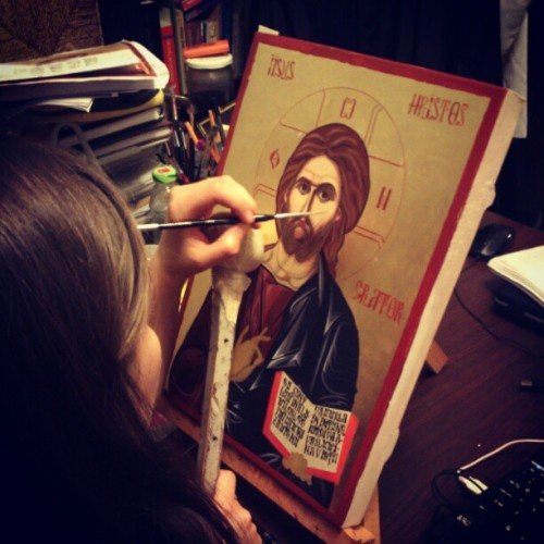 simplyorthodox:  andreisarb:  Icon painter at work. (Taken with instagram)  Baeutiful!