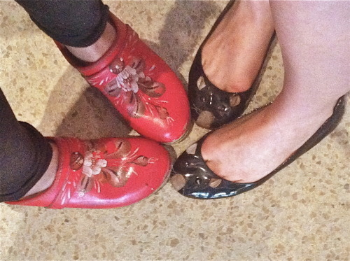 "red flower clogs — ""Graceland"" by Paul Simon black mouse flats  — ""Dark Alleys"" by Light Asylum"