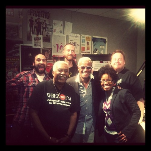 "From the left. Myself, Chicago radio legend WBEZ's Richard Steele, 2012 Vocalo DJ competition winner DJ Shazam Bangles, Mr. Chicago Music with over 40 years in the business a pioneer in the music industry George Daniels, co-host Shantell Jamison, and legendary Chicago DJ Jesse De La Pena. teamvocalo:  George Daniels of ""George's Music Room"" with #teamvocalo (Taken with instagram)"