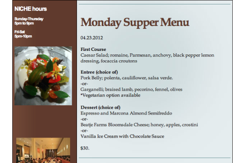 This Week's Monday Supper Menu, 4.23.12