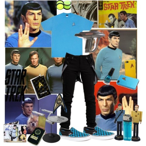 Spock by aquabatgirl featuring adidasT shirt, $15Adida, €60Vans sneaker, $50Wallet, $15Jewelry, $4.49Nail polish, $2.50Amazon.com: (3x4) Star Trek Spock Says Tyvek Mighty Wallet:…, $15ThinkGeek :: Star Trek Starfleet iPhone 4 Cases, $11