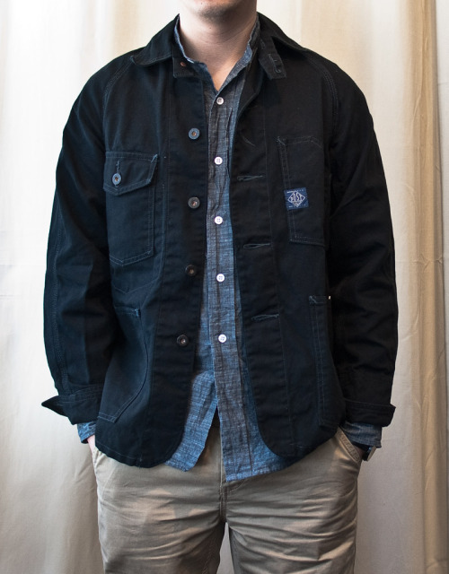 Post Overalls Chore Jacket with Dept 17 faded denim twill shirt