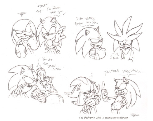 cosmicremix:  The Continued Adventures of Sonic the Douchehog.  This is completely in-character.
