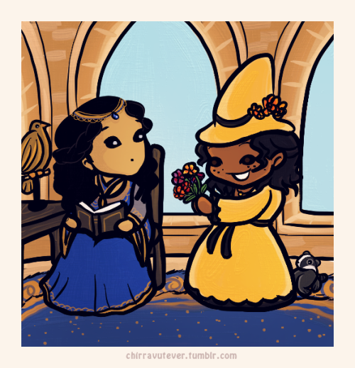 chirravutever:  Rowena Rawenclaw and Helga Hufflepuff A headcanon tale of an epic lady friendship. Based on a scene from a certain bbc show-that-shall-not-be-named. I blame Eva for this.