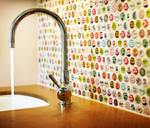 DIY Bottle Cap Backsplash
