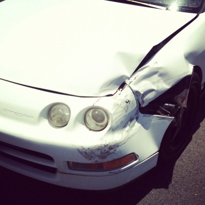 Fml… Time to go itr front I guess… #accident #stupid #integra #db8 #Acura (Taken with instagram)