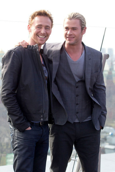 Tom Hiddleston and Chris Hemsworth at The Avengers photocall and press junket in Mosco 4/17/12.