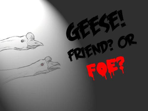 I did a quick sketch of two white chinese geese and thought that they were the oddest looking creatures ever. Using this image, I (jokingly) tried to convince my friends that geese are a menace to society what with the biting and aggressive attitudes and all. Unbeknownst to me, some people actually like geese and think they're awesome. Well, shoot.