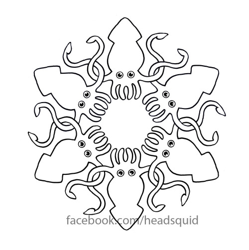 The black and white version of the squid colour wheel.