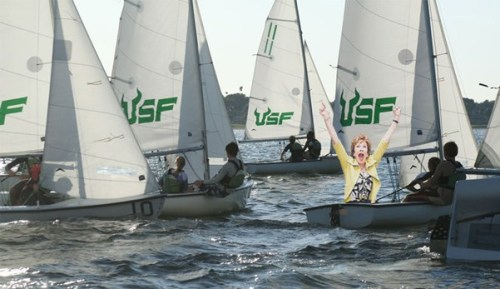 USF President Judy Genshaft gets excited about sailing.
