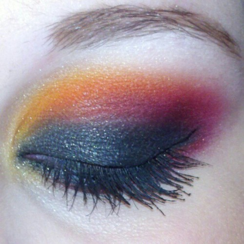 Seeing the Hunger Games today! #makeup, #fire, #sugarpill, #fashion, #hungergames, #fiery, #nyx, #wow, #eyes, #bright, #beauty, #cosmetics, #thehungergames, #covergirl, #maybelline, #art,  (Taken with instagram)