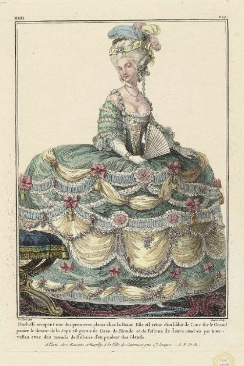 Gallerie des Modes, 1781.  My apologies for my lack of posts, readers.  My new job is frying my brain.  I come home and can barely put a coherent sentence together, so tumblin' is dropping off the to-do list.  I'll try harder.  As an apology, here are some magnificent court gowns!