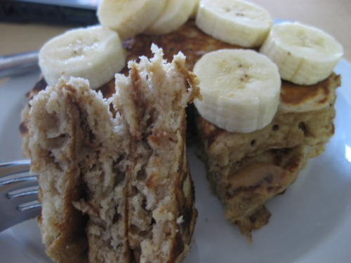 healthy dinner, obviously: oatmeal (chocolate chip) pancakes with pb and banana