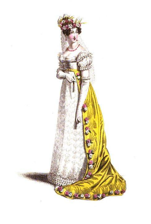 La Belle Assemblee, Dress of the Court of France, 1819.  Another beautiful court gown as an apology.  I don't typically like yellow very much, but this is such a bright and cheery color that I can forgive it!
