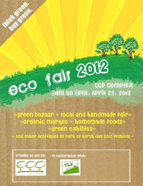 Come and join LITTLE LONDON at the Eco Fair 2012 at the CCP Complex on April 22, 2012 9am-9pm. Featuring Green Bazaar, Local and Handmade Fair, Organic Market, Homemade Foods, Green Exhibits and other activities as part of Earth Day 2012 Festival.
