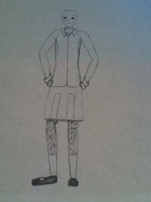 Someone said a man in a skirt. So here's Voldemort in a skirt. It's a hastily drawn, really crappy sketch of him. XD enjoy. Thanks for the idea.