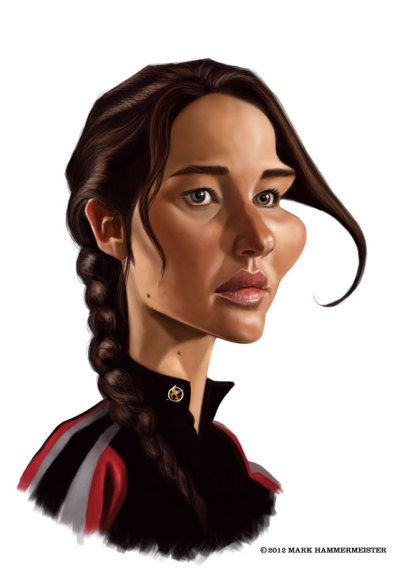 Digital caricature painting of Jennifer Lawrence from The Hunger Games.