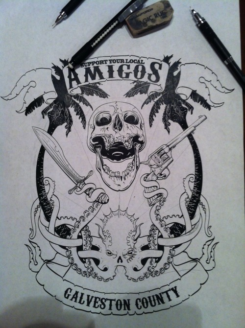 Amigos tee, Round one. Black work, some tweaks to go. 6 color when we are done