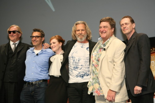 "The cast of ""The Big Lebowski"" celebrating the 20th anniversary blu-ray release of the popular Coen Brothers film. Click the pic to watch the Q&A with the cast members at the reunion in New York City."