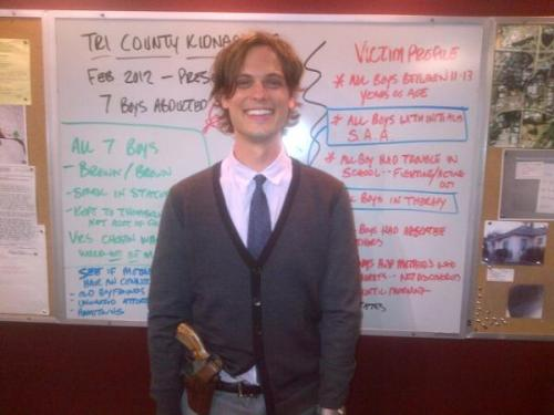 @Cheekv: @GUBLERNATION in the roundtable room a moment ago on the #criminalminds set. He always takes care of me.