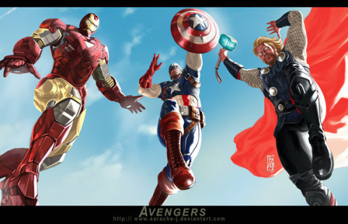 thehappysorceress:  The Avengers by earache J