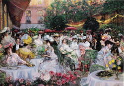 more impressionism! (Garden terrace (1904), Pierre-Georges Jeanniot) and look at those hats…LOVE!