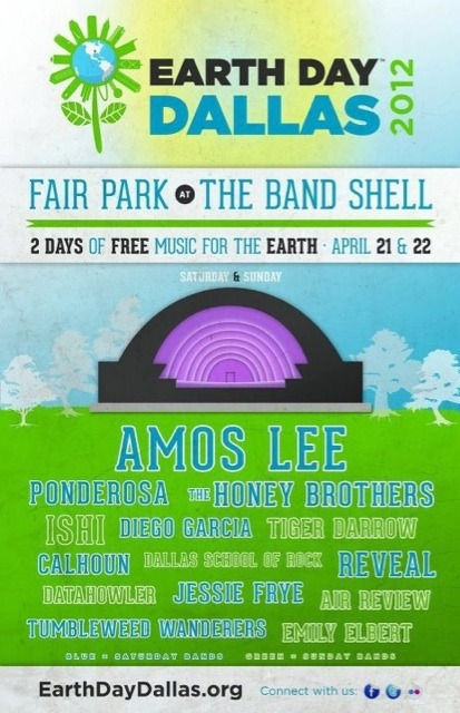 This Sunday, April 22nd,  I will be performing at Earth Day Dallas from 3:30 - 4:00PM at Fair Park in the Band Shell. Admission is free. Let's jam out for the Mother Earth. Duh.