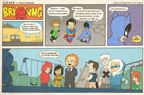 jl8comic:  JL8 #33 by Yale Stewart Based on characters in DC Comics. Creative content © Yale Stewart. Like the Facebook page here!  This is killing me. Does anyone know who the pale-skinned kid is? I was thinking like Solomon Grundy or Doomsday or something, but then why the X on his shirt? It has to be something, given how significant every other character's outfit is. This is the first time in a long time I've seen a DC thing too obscure for me, and it actually kind of makes me happy because I've been worrying about my Marvel allegiance slipping.