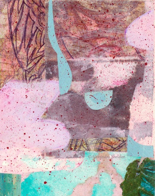 mixed media collage in soft pink