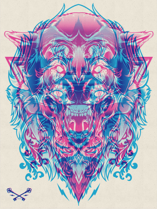 Halftone Print Series - Wolf & Lion, by Joshua M. Smith