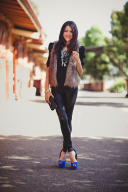 What I'm wearing: Mui Mui wallet, Tony Binaco Shoes, Mimco Necklace, Agent 99 tights, Topshop Shirt, Zara singlet, Dotti Vest, Swarovski necklace, YSL ring, Michael Kors watch behind the scenes at my dotti shoot today Model: http://aleygreenblo.tumblr.com/ Photographer: www.juliatrotti.tumblr.com  Stylist:http://jessiemcnaught.tumblr.com