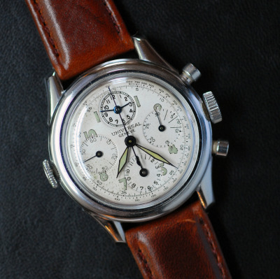 "1942 Universal Geneve Aero-Compax Chrono with a ""Memento"" register at 12. The ""Memento"" register is an alarm function, but that aside the 4th register really ties the dial together….$4,700"