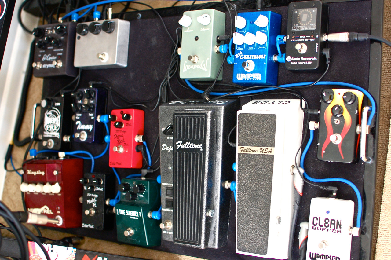 So here's the mid April pedal board situation. i moved the Wampler Clean Buffer one place down behind the Landgraff Dynamic Overdrive. Someone on the Gear Page mentioned trying the buffer in the middle of the chain and I thought 'brilliant!' That's one place I haven't tried it yet. 2 buffers was overkill and unnatural sounding. One buffer in the front seems in theory that it would be short on juice after 11 pedals succeeding it. So right before the wah seems like a good place to put it. Although I don't hear a difference, my OCD is less aggravated.  Then in other breaking news, the Fetto has been replaced with the Bearfoot Dyna Red Distortion which I have totally bonded with in the past few days.  Now there's a hole where for a very, very short time…a Wren and Cuff Caprid was going to go…long story…but now that spot is reserved for a Box of War. Thanks to Dan Zank again for the recommendation.