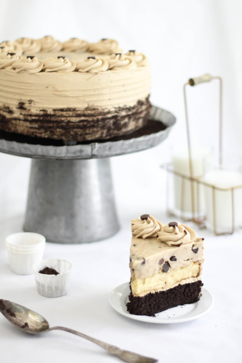 Chocolate Chip Cookie Dough Devil's Food Cake Cheesecake  Recipe is lengthy, so find it here.