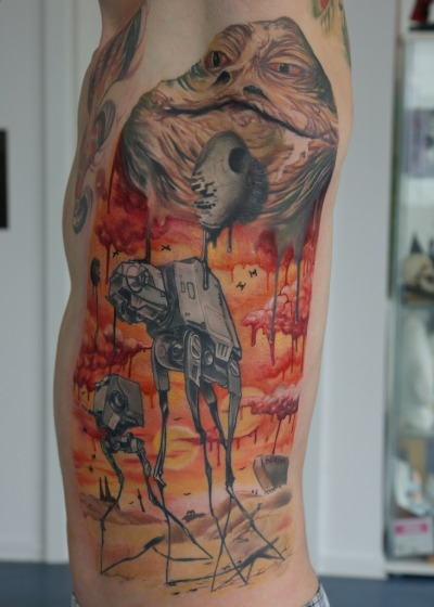 ianbrooks:  Dali Wars tattoo design by Heinz Graynd (via: tie fighters)
