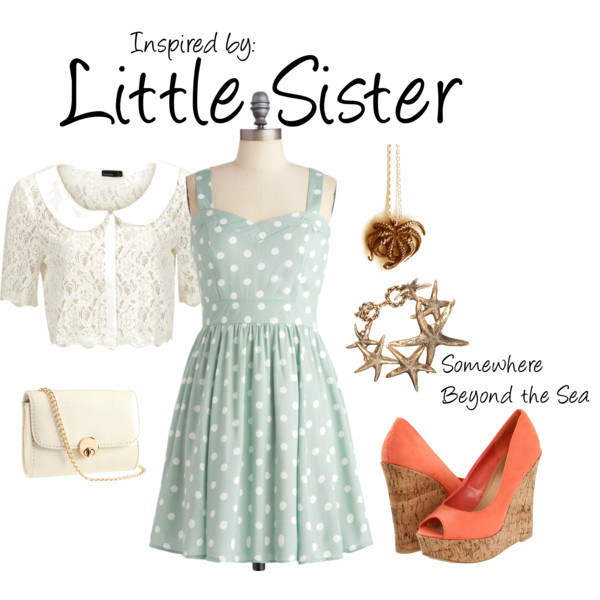 Little Sister (Bioshock Series) by ladysnip3r featuring pendants   Want to look like a dramatically less creepy Little Sister? Well then, this is the outfit for you! Inspired by Bioshock's Little Sisters. Just make sure not to take anyone's supply of Adam. (Reference Image)