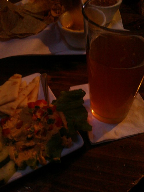 Back in Colorado! Celebrating with beer and the hummus plate.