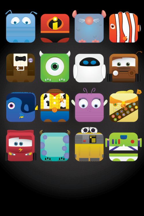 minimalmovieposters:  Pixar characters (Free iPhone wall paper) by Jess Fong Available here