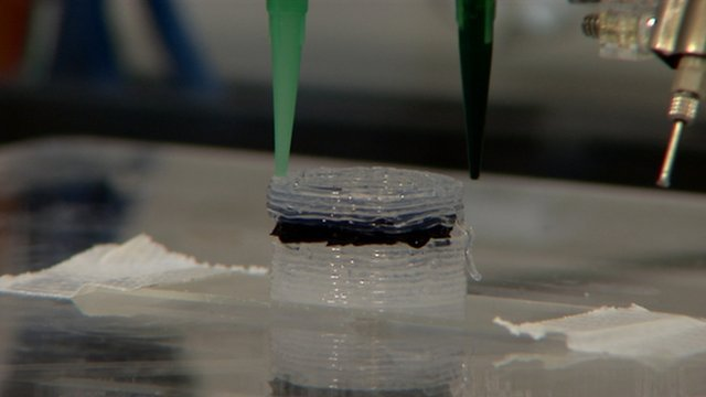 "3D Printed Designer Drugs Scientists are pioneering the use of 3D printers to create drugs and other chemicals at the University of Glasgow. Researchers have used a £1,250 system to create a range of organic compounds and inorganic clusters – some of which are used to create cancer treatments. Longer term, the scientists say the process could be used to make customised medicines. ""We are showing that you can take chemical constituents, pass them through a printer and create what is effectively a chemical synthesiser in which the reaction occurs allowing you to get out something different at the end,"" researcher Mark Symes told the BBC. ""It's almost like a layer cake – you print the last reactionary agent first and then build other chemical layers above, finally adding a liquid at the top. The liquid goes to layer one making a new molecule which goes to the next layer creating another and so on until at the bottom you get your prescription drug out."" via hypna:"