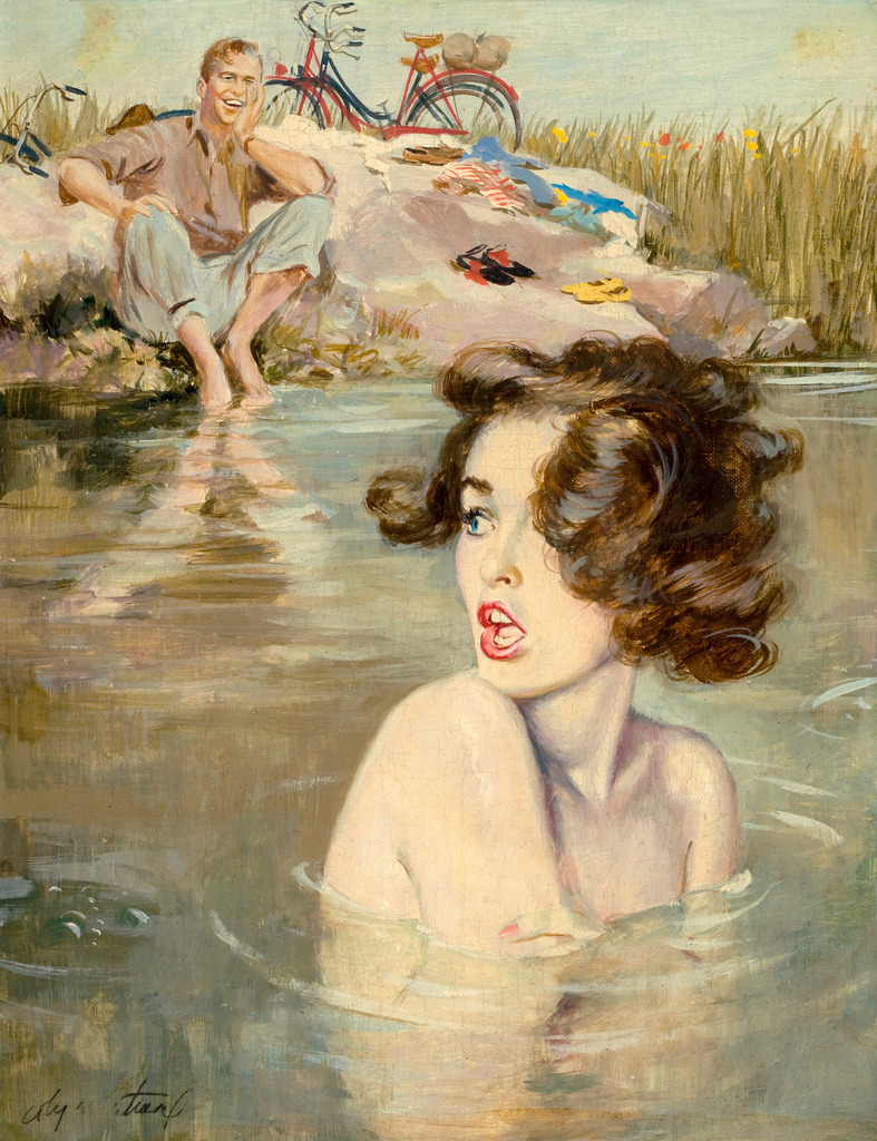 "mudwerks:  Coby Whitmore (by oldcarguy41)  This painting was with the story ""The Art Of Giving"" in the Saturday Evening Post in April 1952."