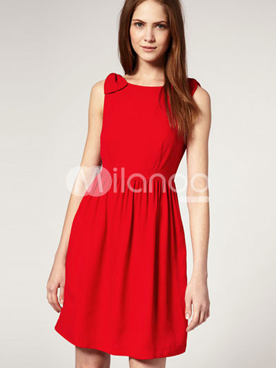 Red Polyester Sleeveless Bow Decoration Back Hollow Out Party Dress