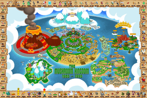 Complete Mushroom Kingdom Map by Bill Mudron.