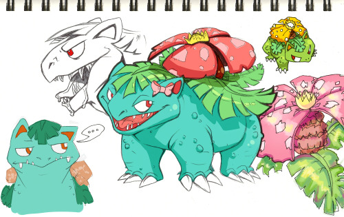 "I just really love Venusaur okay. My favorite Pokemon basically changes with the week and right now it's Venusaur. I never really liked him until recently for some reason. He just kinda grew on me over the years. I kinda want to start a new LeafGreen game and pick another Bulbasaur and name it Frou-Frou. Am I the only one who SOMEHOW misheard the Venusaur nicknamed ""Brute-Root"" in Pokemon: the First Movie as ""Frou-Frou""? pfff, but I thought it was a great contrast that such a warty, nasty badass like Venusaur was called something as cute and docile-sounding as ""Frou-Frou"". :'D /rambles. So yes, messy sketches of love for everyone's favorite frog-dinosaur-rafflesia-monsterthing!"